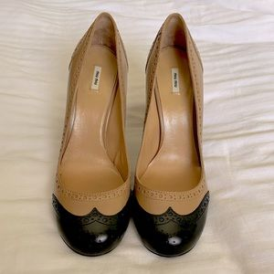 Miu Miu Tan and Black Spectator Pump